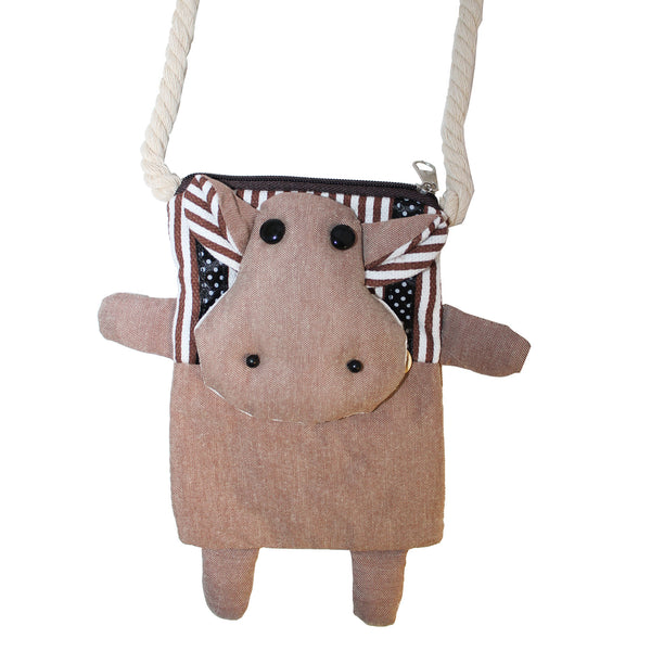 Brown Cow Cotton Coin Purse Wallet Bag with Strap