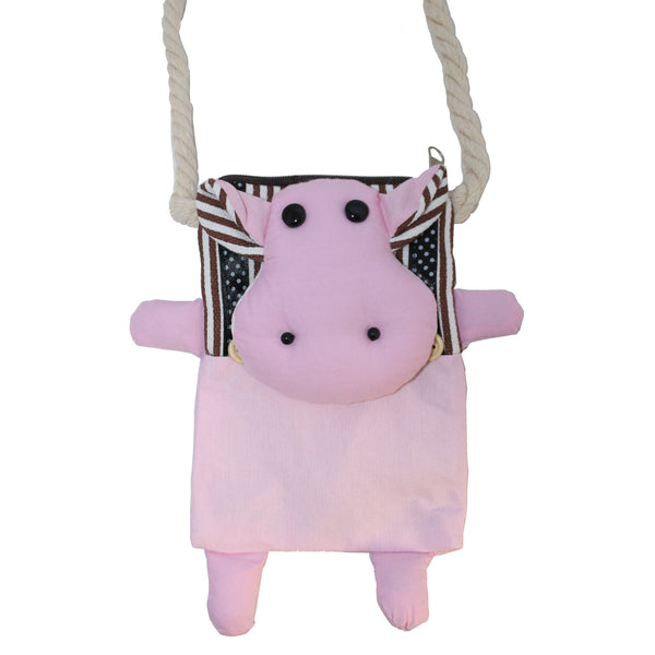 Pink Cow Cotton Coin Purse Wallet Bag with Strap
