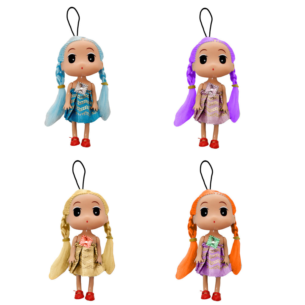 Assorted Color Girl Doll String Hanger Key Chain