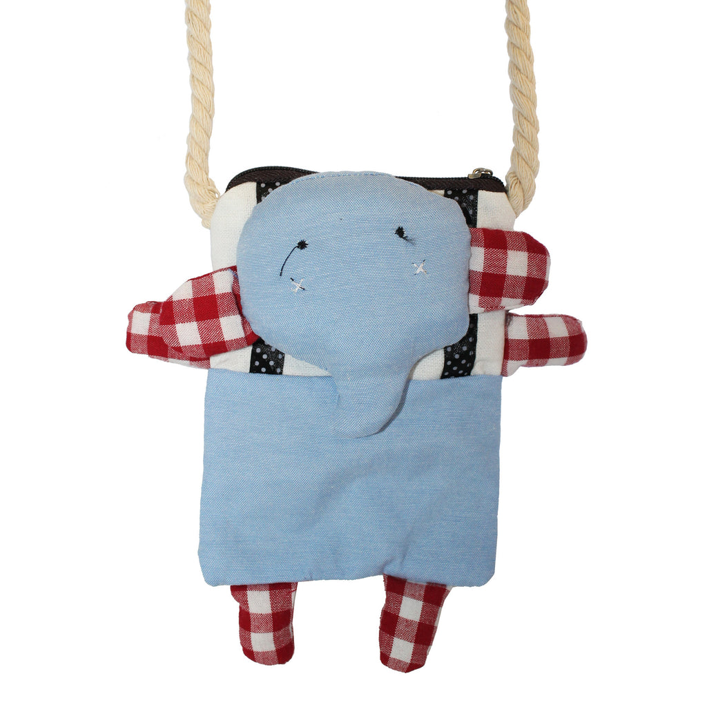 Blue Elephant Cotton Coin Purse Wallet Bag with Strap