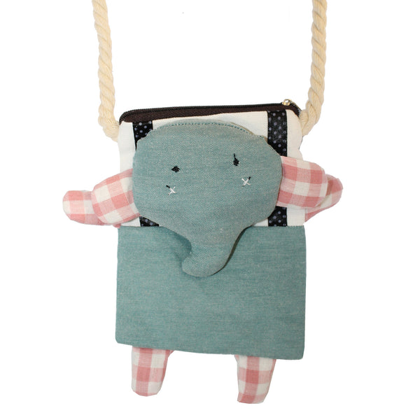 Green Elephant Cotton Coin Purse Wallet Bag with Strap
