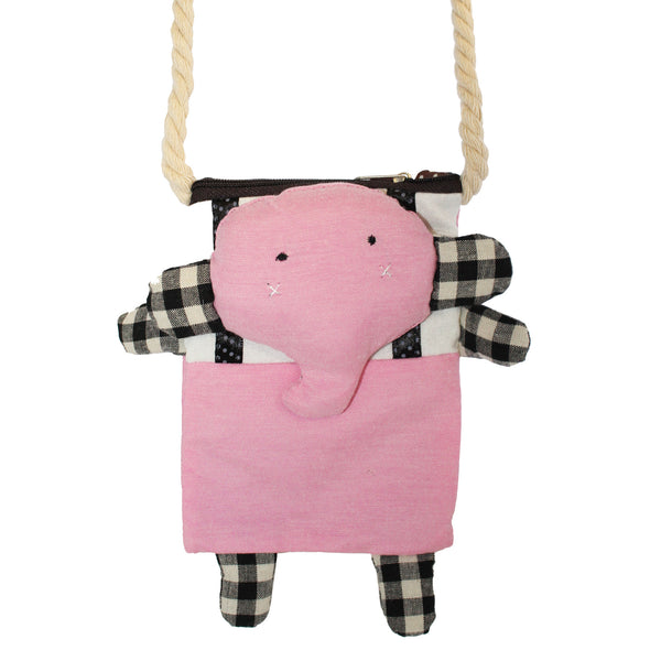 Pink Elephant Cotton Coin Purse Wallet Bag with Strap