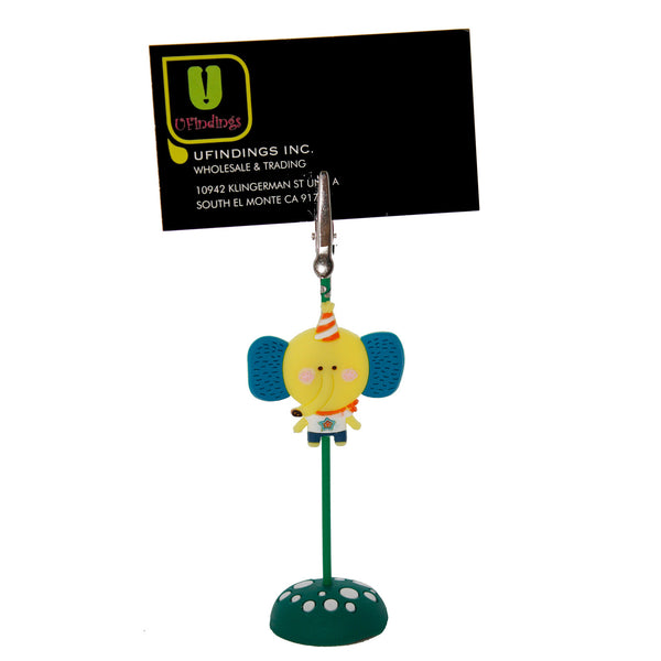 Yellow Birthday Elephant PVC Photo Holder Business Card Clip Hanger