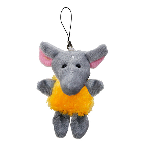 Elephant with Fur String Hanger Plush Key Chain