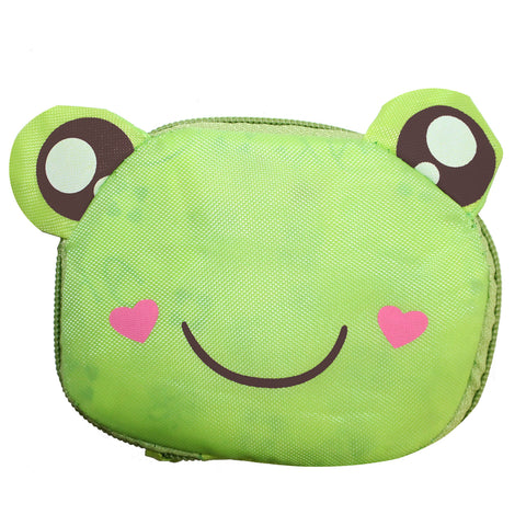 Green Frog Foldable Shopping Bag w/ Zipper