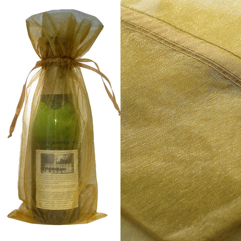 Gold Organza Wine Bag