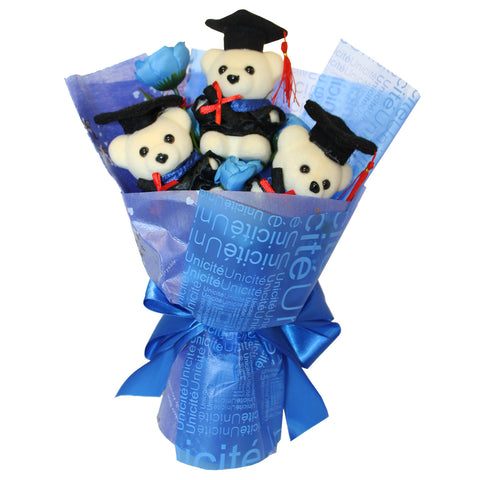 3 Hard Foam Bears Graduation Day Flower Bouquet (Comes in box of 30 - $7.50)