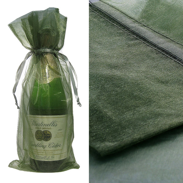 Green Organza Wine Bag