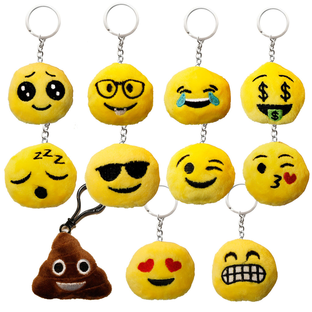 Assorted Smiley Emoji Plush Key Chain Pack (100 Pcs)