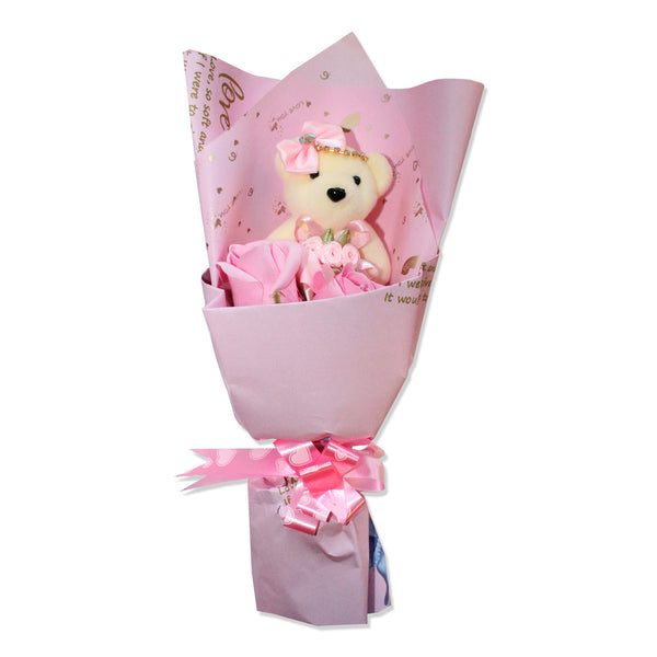 Pink Hard Foam Love Bear Bouquet w/ Soap Flowers