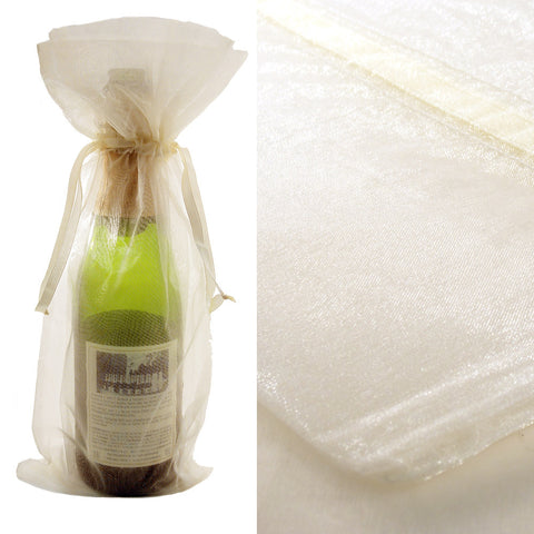 Ivory Organza Wine Bag