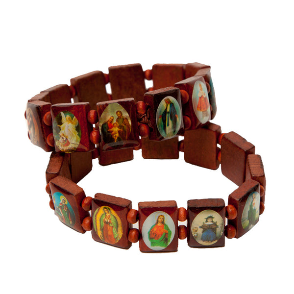 Jesus Mary Guadalupe Wooden Catholic Bracelet