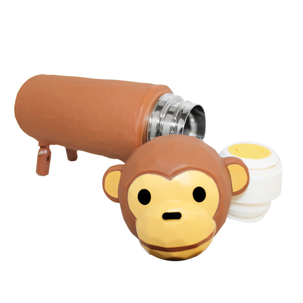 Light Brown 3D Monkey Thermos Water Bottle Container