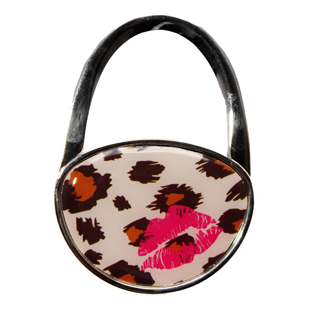 Brown Leopard Print Kisses Purse Holder Bag Hanger