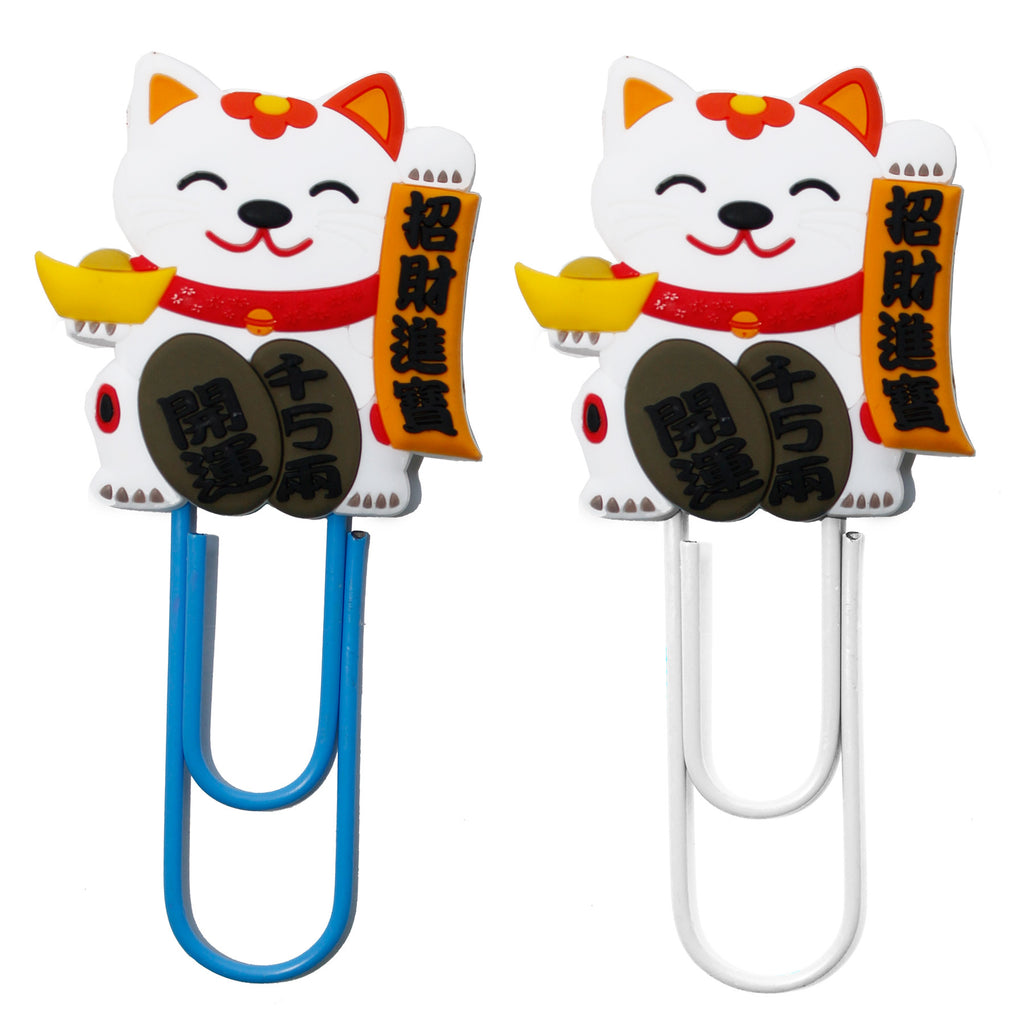 Chinese Lucky Cat PVC Bookmark Paper Clip