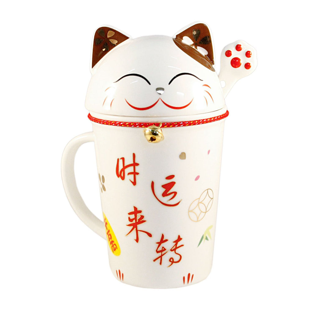 Brown Lucky Cat Ceramic Mug with Lid Cover & Spoon