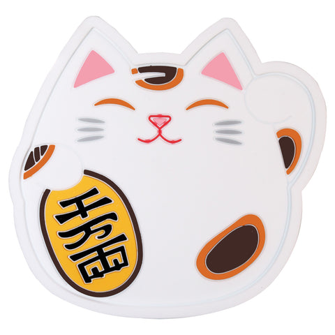 White Lucky Cat PVC Mug Cup Coaster