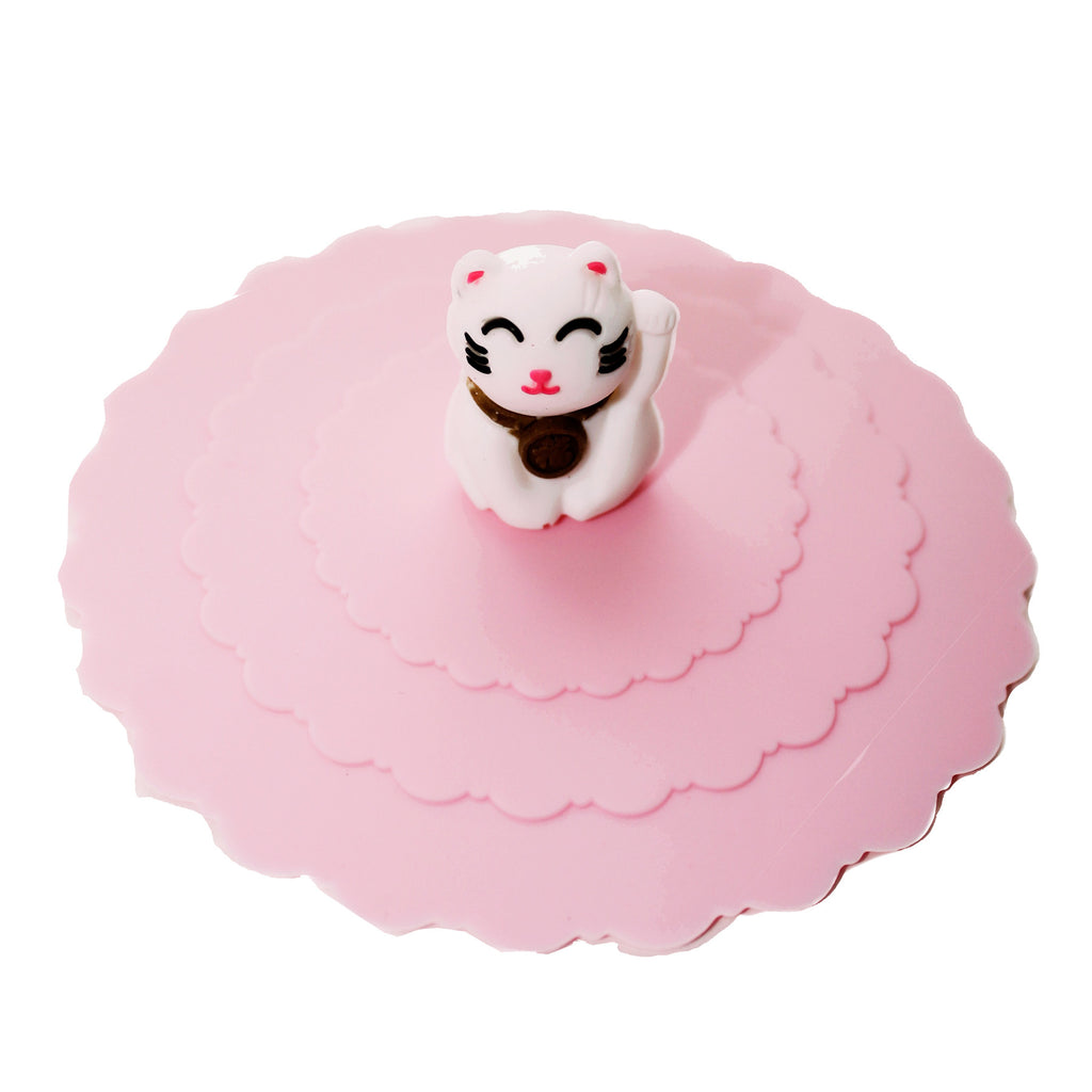 Chinese Lucky Cat Pink Suction Cup Lid Mug Cover