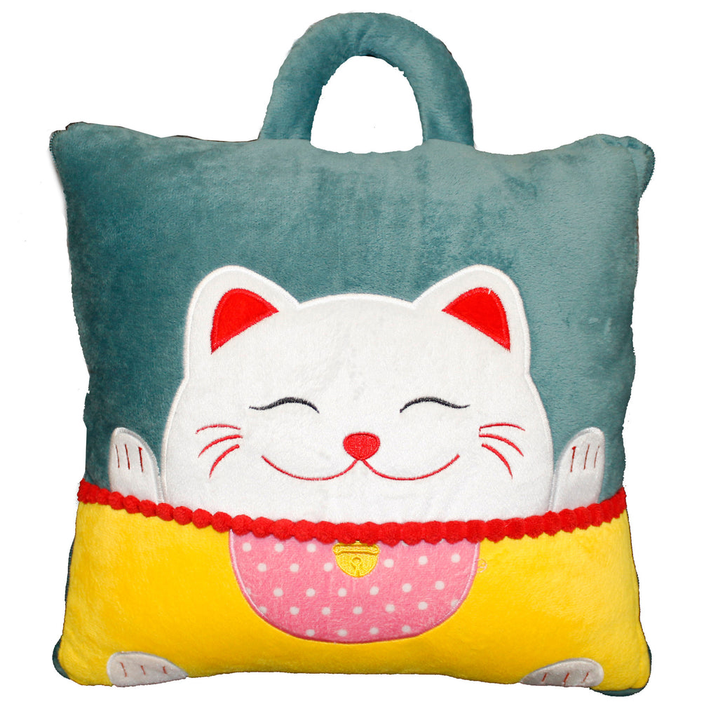 Blue Japanese Lucky Cat 2-in1 Travel Pillow, Converts into Blanket