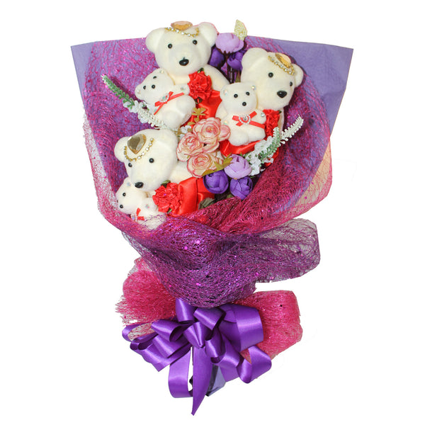 3 Mom & Daughter Hard Foam Red & Purple Bear Bouquet (Comes in box of 30 - $7.50)