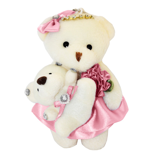 Mom and Baby Pink Plush Bear with Bow & Rhinestones Key Chain