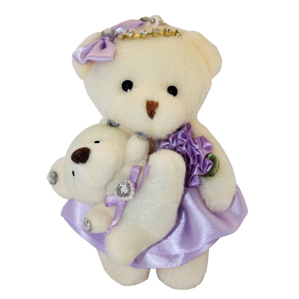 Mom and Baby Purple Plush Bear with Bow & Rhinestones Key Chain