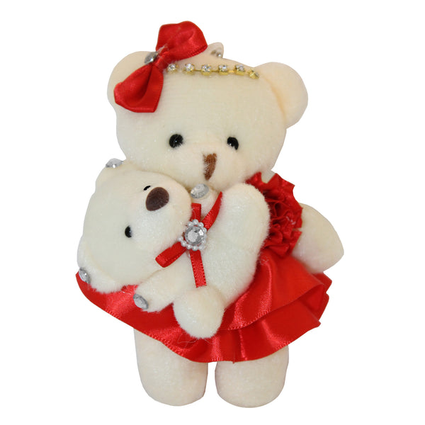 Mom and Baby Red Plush Bear with Bow & Rhinestones Key Chain