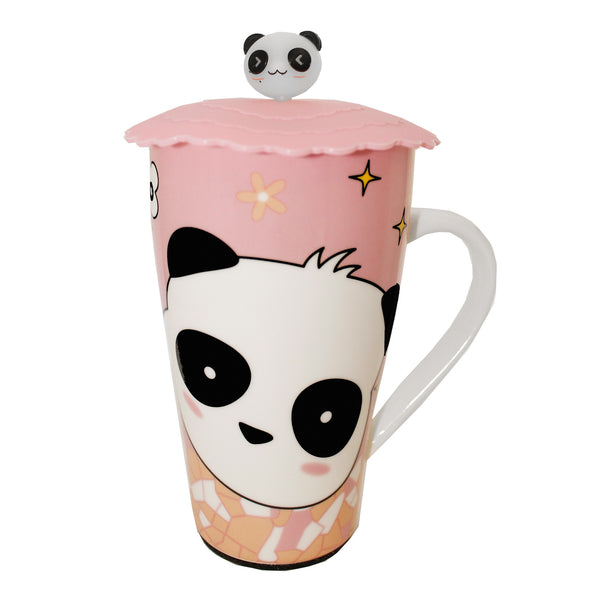 Pink Panda Bear with Silicone Lid Ceramic Mug Cup