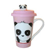 Panda Bear Ceramic Mug Tall Cup w/ Handle and Silicone Lid