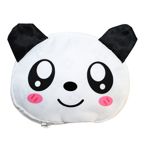 Panda Bear White Foldable Shopping Bag w/ Zipper