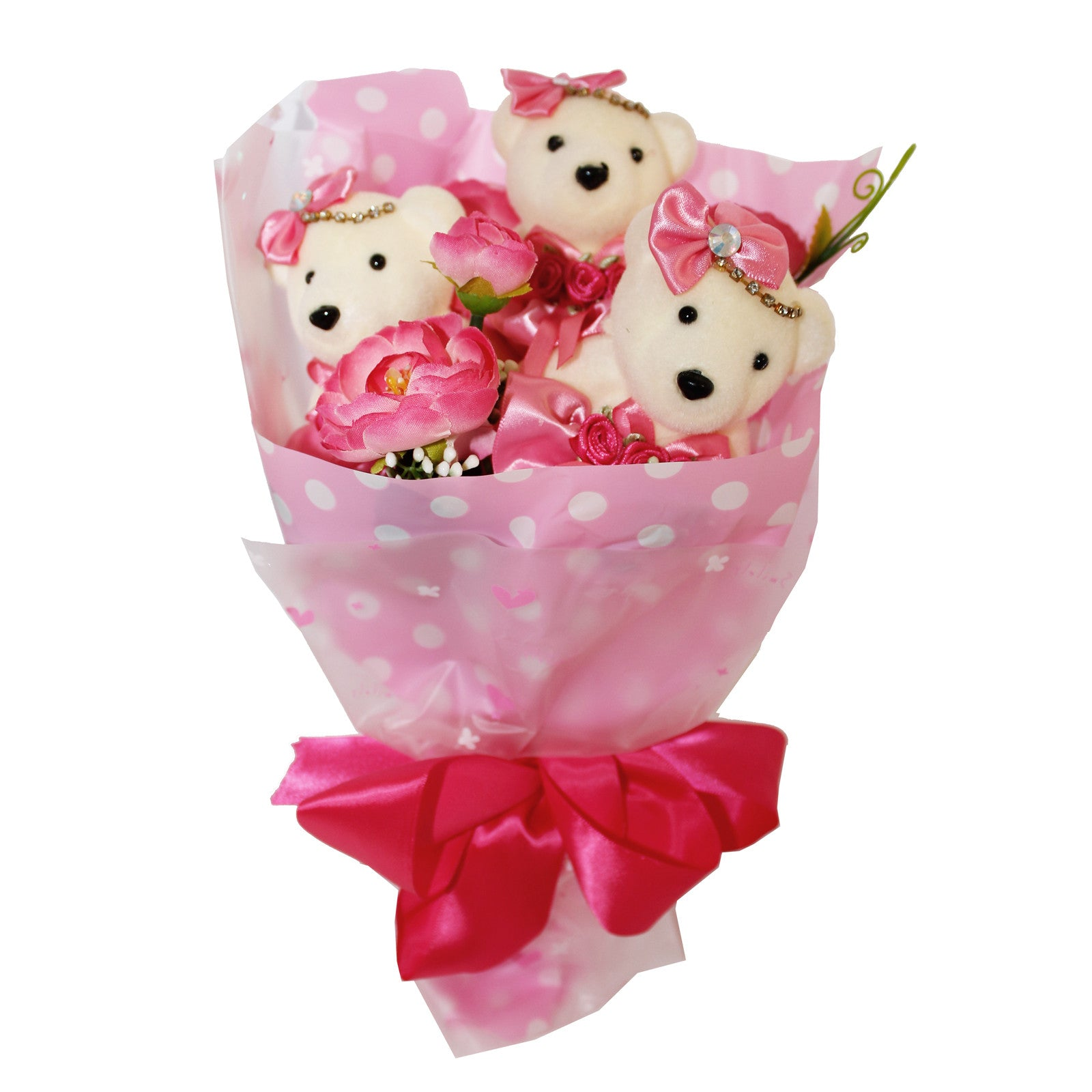 Special 3 Bear Flower Bouquet with Rhinestones Pink Design ...