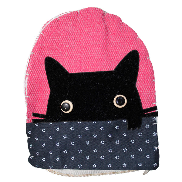 Pink Cat Head Cotton Coin Purse Wallet Bag with Hand Strap