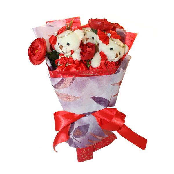 Red Plush Bear Flower Bouquet with Rhinestones