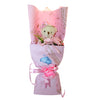 Pink Soft Plush Love Bear Bouquet w/ Soap Flowers