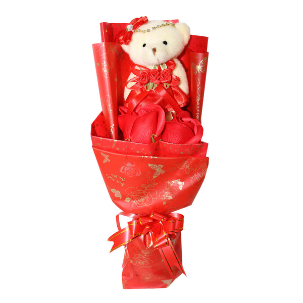 Red Plush Bear Bouquet Special Flowers