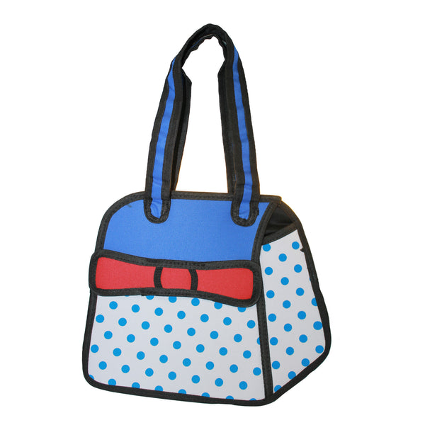 3D Travel Hand Bag Blue Polka Dots Design