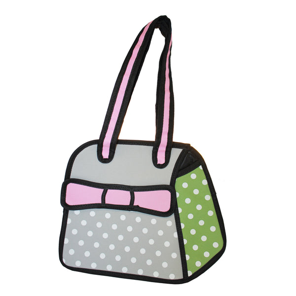 3D Travel Hand Bag Pink Polka Dots Design