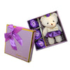 Purple Plush Bear Valentine's Gift Box w/ Soap Flowers
