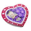 Purple Heart Plush Bear Valentine's Gift Box w/ Soap Flowers