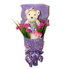 Special Graduation Bear Flower Design Purple Theme Bouquet