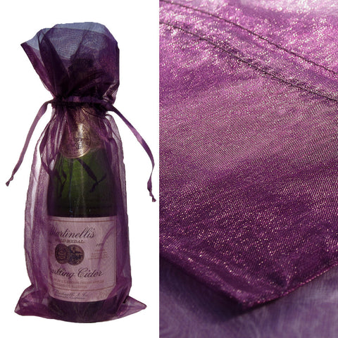 Purple Organza Wine Bag