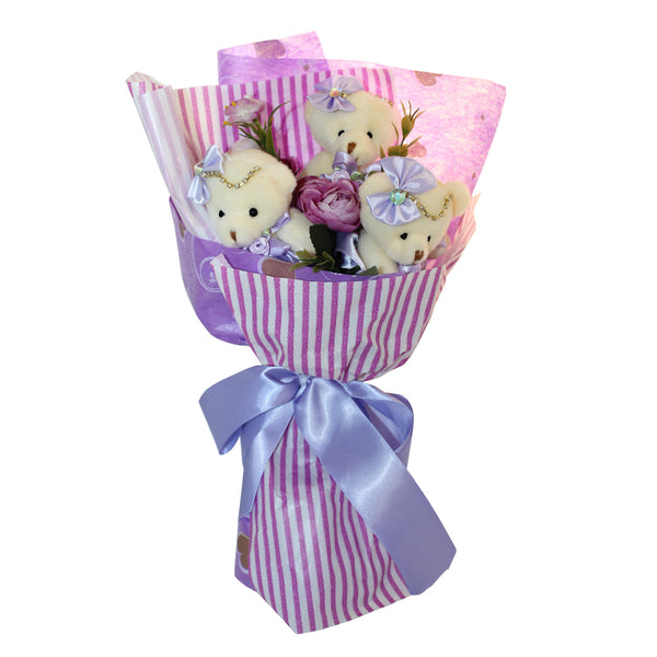 Purple Plush Bear Flower Bouquet with Rhinestones