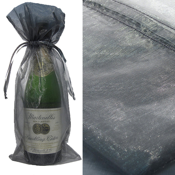 Silver Organza Wine Bag