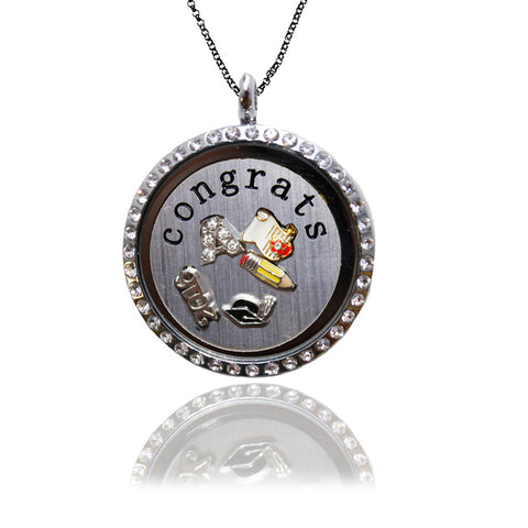 Silver Graduation Locket with Floating Charms and Stainless Steel CONGRATS Plate