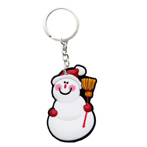 Christmas Snowman with Broom PVC Key Chain