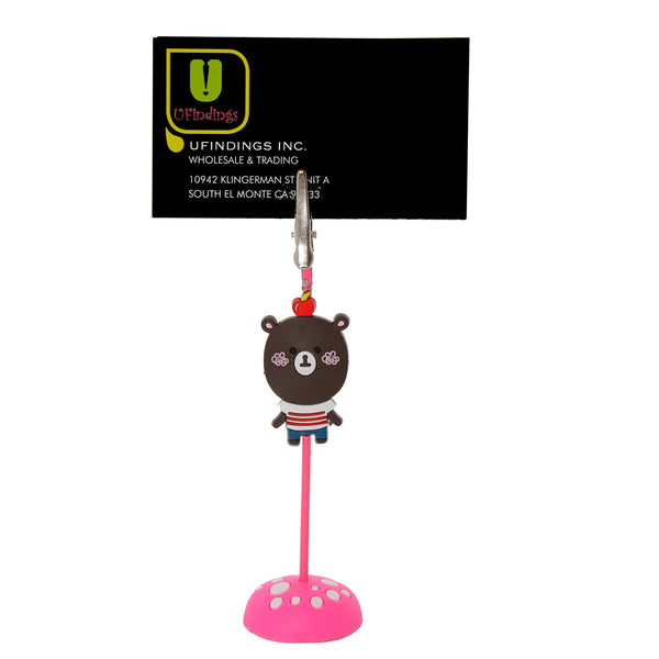 Brown Bear with Apple PVC Photo Holder Business Card Clip Holder