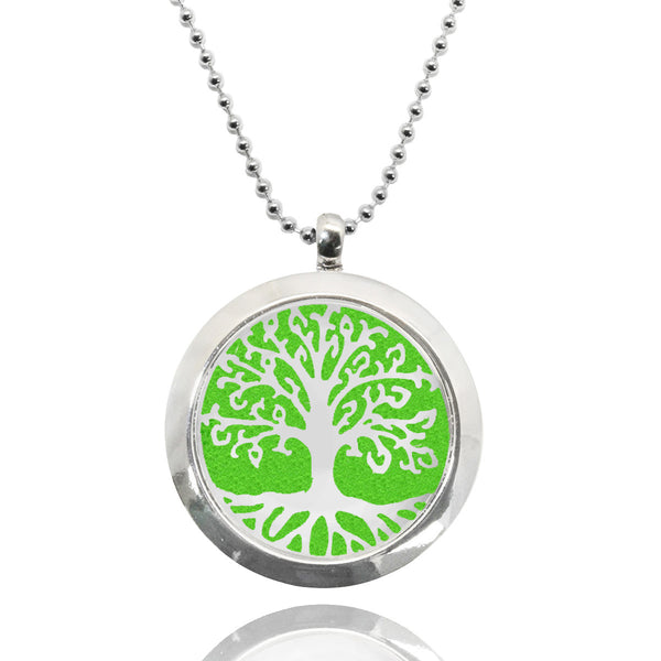 Tree of Life Stainless Steel Locket Essential Oil Necklace