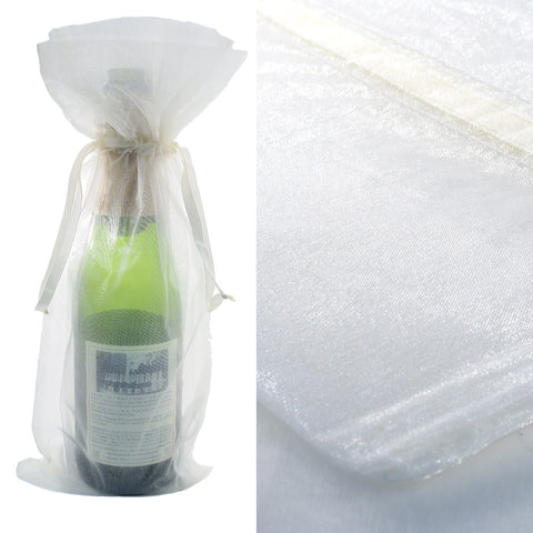 White Organza Wine Bag