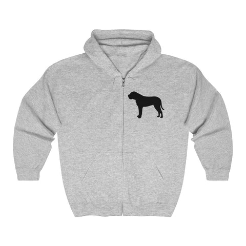 (BULLMASTIFF) CLASSIC DOG BREED SILHOUETTE ZIP-UP HOODIE