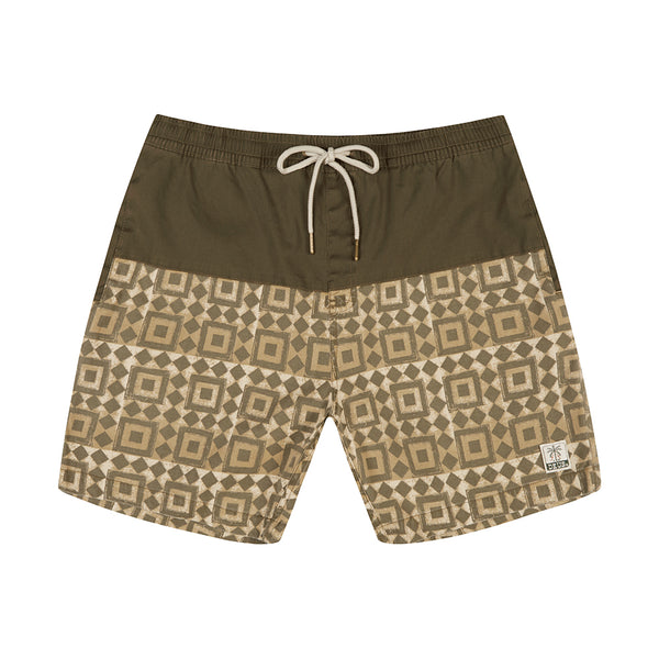 Sandbar Breeze Blocks Boardshort - Dark Olive